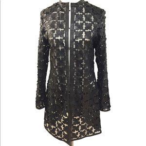 Leather mesh jacket cardigan size 8